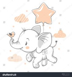 Vector illustration of a cute baby elephant flying with a balloon. Vector illustration of a cute baby elephant flying with a balloon. Baby Elephant Drawing, Cute Baby Elephant, Elephant Nursery, Flying Elephant, Elephant Illustration, Cute Illustration, Scrapbooking Image, Illustration Mignonne, Baby Shower Pictures