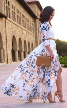 Printed Maxi Dress Summer Style - Total Street Style Looks And Fashion Outfit Ideas Cute Dresses, Beautiful Dresses, Cute Outfits, Summer Dresses, Maxi Dresses, Long Dresses, Wedding Dresses, Beauty And Fashion, Look Fashion