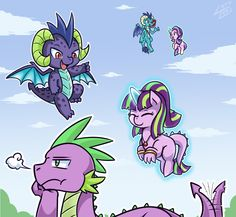 #1143104 - adult spike, artist:vavacung, dracony, emberspike, eyes closed, flying, hybrid, jealous, levitation, magic, oc, oc:burning star, oc:charcoal, offspring, older, polyamory, princess ember, prone, safe, shipping, smiling, snorting, sparlight, spike, spike gets all the mares, starlight glimmer, straight, telekinesis, unamused - Derpibooru - My Little Pony: Friendship is Magic Imageboard
