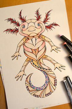Axolotl Drawing by Andreas Preis // Animal Poker // www.designerpreis.com