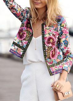 http://www.pinterest.com/elakaran/ - floral suit - chic - pink - white