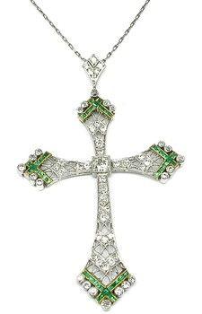 Edwardian Diamond Emerald Platinum & 18k Yellow Gold Cross Pendant and Chain Necklace