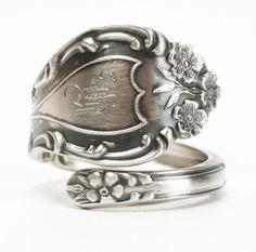 Wild Rose Ring, Sterling Silver Spoon Ring, Rosebud Ring, Silver Flower Ring Gardeners Gift, Adjustable Ring Size, Engraved K Shepard (5975) by Spoonier on Etsy