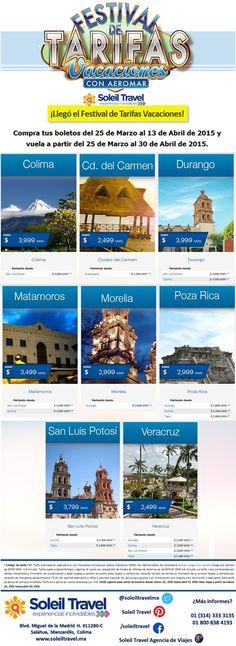 Si planeas viajar de San Luis Potosí a Colima, de Durango a Morelia o de Tepic a Poza Rica.  Aeromar tiene para ti el Festival de Tarifas de Vacaciones.  ¡Apresúrate, sólo tienes hasta el 13 de abril para adquirir tus boletos con tarifas increíbles!
