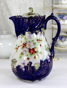 Antique Chocolate Teapot, Nippon Era Chocolate Pot