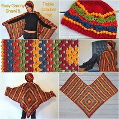 67 Ideas crochet poncho granny square drops design for 2019 Poncho Au Crochet, Mode Crochet, Crochet Poncho Patterns, Crochet Shawls And Wraps, Crochet Scarves, Diy Crochet, Crochet Clothes, Knitting Patterns, Knitting Stitches