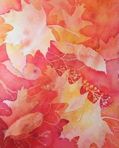 Layering leaves by negative painting in watercolor.
