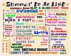 Summer to do List........Free printable