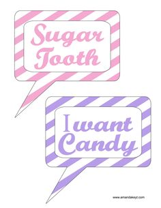 Speech Bubbles from Candy Shoppe Pink Candy Crush Inspired Printable Photo Booth Prop Set