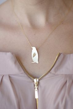 Gold Penguin Necklace Kawaii Necklace Handmade by meytalbarnoy, $49.00