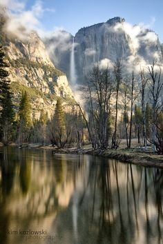 ~~Valley Morning ~ Yosemite Falls from Swinging Bridge. Yosemite National Park. California by Kim Kozlowski~~