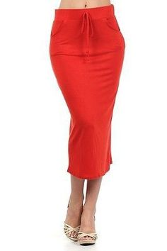 Sexy Career Tie Front A-Line Straight Jersey Knit Stretch Midi Length Skirt