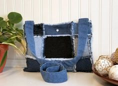 Denim Patchwork Hobo Style Handbag Handmade from by MissThread