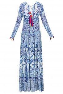 White and Blue Printed Long Maxi Dress #hemantandnandita #shopnow #ppus #happyshopping