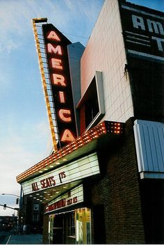 If memory serves, the America served as the site of the Wyoming premiere of Starship Troopers (some shooting took place at Powder River, WY) in This shot is from summer Casper Wyoming, Wyoming Vacation, Usa Holidays, Home On The Range, Theatres, Movie Theater, Wild West, Architecture, Signage