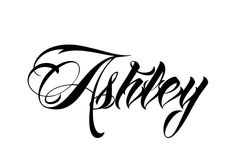 Tattoo Name Ashley using the font style Anha Queen Script