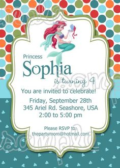 The Little Mermaid Birthday invitation JPG file printable