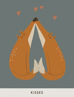 "Katrin Wiehle, ""Kisses"".  What the artist said along with it in her blog--""Foxes and kisses and also still snow on the ground""--that is pure poetry."