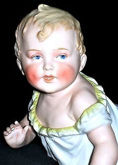 ANTIQUE GERMAN VICTORIAN HEUBACH QTY LARGE PIANO BABY GIRL DOLL BISQUE FIGURINE