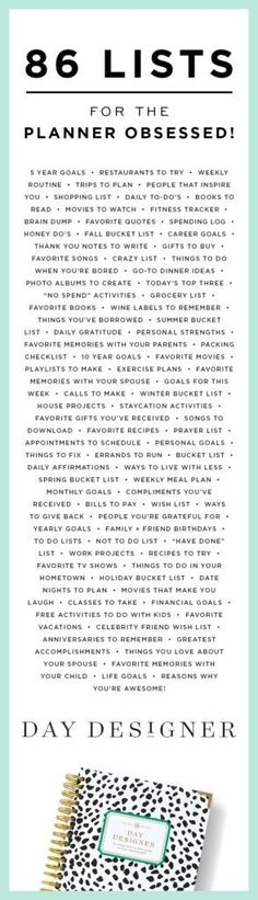 86 Lists for planner