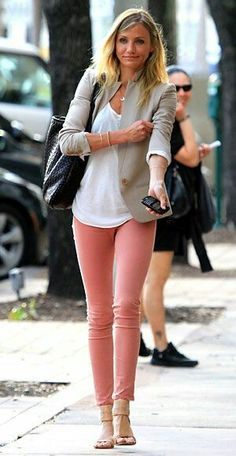 salmon pink pants, white tee, beige blazer