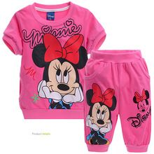 Retail! Free shipping! Children Minnie sets/baby girl sport pant suit children clothing set,kids clothes set  (T-shirt+pants)(China (Mainland))