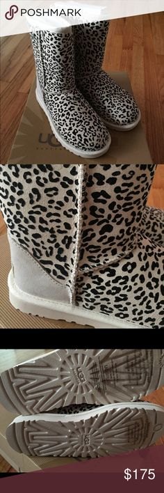 **RARE** NIB Ugg Classic Short Rosette Salt Size 5 Brand New in Box Ugg Classic Short Rosette in Salt Size 5. Authentic Ugg boots in an ivory leopard print. Soooo cute!!!! Only removed from box for pictures. BRAND NEW! PERFECT Condition!! UGG Shoes