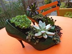 turn old heels into planters