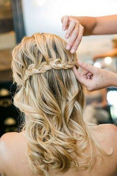 half-up-half-down waterfall braided wedding hairdo - Deer Pearl Flowers / http://www.deerpearlflowers.com/wedding-hairstyle-inspiration/half-up-half-down-waterfall-braided-wedding-hairdo/