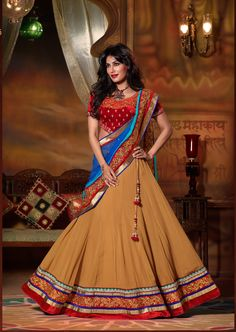 mustard yellow and red simple #designer #lehengacholi comes with blue embroidery border dupatta...