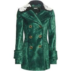 Miu Miu Faux-fur jacket ($2,450) ❤ liked on Polyvore featuring outerwear, jackets, miu miu, straight jacket, fake fur jacket, green faux fur jacket and double breasted jacket