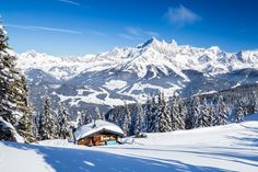 A small hut at Rossbrand with stunning views towards the Dachstein mountain range. Austria, Mountain Range, Salzburg, Winter, Mount Everest, Beautiful Places, Mountains, Canvas, Travel
