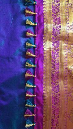 Saree Tassels Designs, Saree Kuchu Designs, Blouse Neck Designs, Rangoli Designs, Kutch Work, Stylish Blouse Design, Gold Earrings Designs, Saree Styles, Saree Wedding
