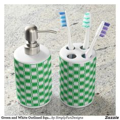 Green and White Outlined Squares Soap Dispenser & Toothbrush Holder