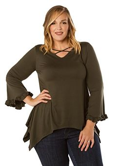 Sealed with a Kiss Designs Plus Size Tops  Cassidy Top 1X Olive *** Check this awesome product by going to the link at the image.Note:It is affiliate link to Amazon. #eyes