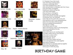 Yeah, I decided to make a birthday game for FNAF. Five Nights At Freddy's Birthday Scenario Game Birthday Scenario Game, Birthday Games, Funny Name Generator, Character Sheet Template, Animatronic Fnaf, 30 Day Drawing Challenge, Prank Calls, Funny Names, Fnaf Characters