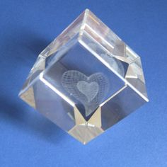 Optical glass sculpture heart embedded in by RetroandReclaimed