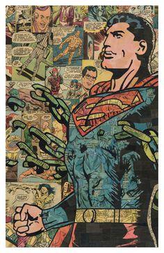 Cadenas de Superman la impresión 11 x 17 por ComicCollageArt