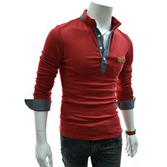 (TCL02-WINE) Slim Fit 2 Tone China Collar Leather Patched Pocket Long Sleeve Tshirts