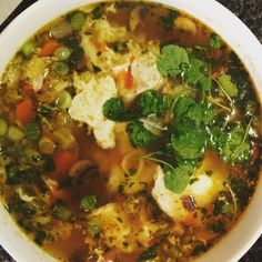 It's not Ramen soup but it sure was tasty and soup-er healthy! . Start the base with fresh #organic shallots, ginger and garlic in EVOO. Add mushrooms and carrots. Sauté for a bit then add #homemade chicken broth and bring to a boil. Then add whatever goodies you want. I added #quinoa pasta, Napa cabbage, an egg, green onions and watercress. Spiced it up with a little turmeric and cayenne pepper, a cube of frozen chopped cilantro, and a dash of Thai red curry paste and liquid aminos. Yum!