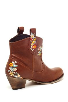 Floral Embroidered Ankle Boot