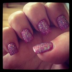Nail design ideas.  Bright pink with pink/purple/silver glitter nail varnish on top