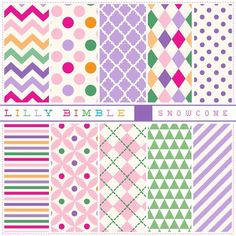 Snowcone Papers 10 Bright and cheerful digital scrapbook papers with chevron, stripes,