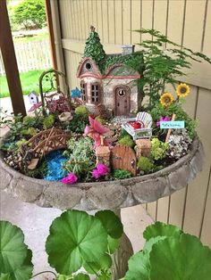 Creative DIY Fairy Garden Ideas , The fairy garden has become more and more well known in home gardens. Before you construct your fairy garden, you must consider the type of fairy gard. Mini Fairy Garden, Fairy Garden Houses, Gnome Garden, Fairy Gardening, Fairies Garden, Organic Gardening, Mini Cactus Garden, Fairy Garden Plants, Garden Angels
