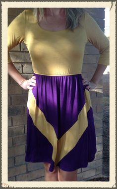 GameDay Purple and Gold Chevron Dress ,LSU