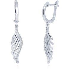 BERRICLE Sterling Silver CZ Angel Wings Fashion Statement Dangle Drop... ($40) ❤ liked on Polyvore featuring jewelry, earrings, clear, dangle earrings, women's accessories, drop dangle earrings, drop hoop earrings, hoop earrings and dangle hoop earrings