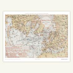 'Bespoke Weather Map' - Print http://www.birthdayweather.co.uk/