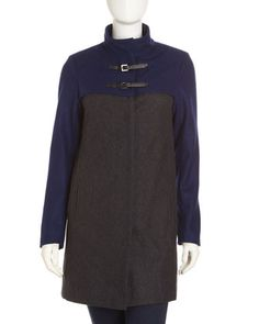 Colorblock Toggle Coat, Gray/Cobalt by Neiman Marcus at Last Call by Neiman Marcus.