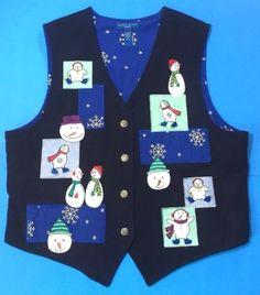 Christmas-Vest-Size-XL-Snowman-Holiday-Party-Lined-Karen-Scott-Navy-Blue