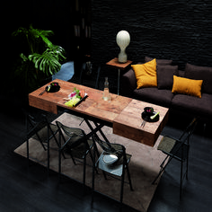 table basse modulable qui se transforme en table haute. Black Bedroom Furniture Sets. Home Design Ideas